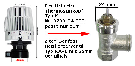 heimeier thermostatkopf typ k passend zu danfoss thermostat ventilunterteil ravl 9700. Black Bedroom Furniture Sets. Home Design Ideas